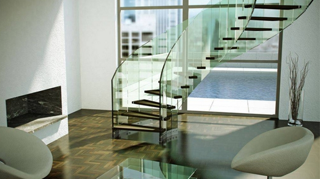 22 Sleek Glass Railings For The Stairs Home Design Lover | Stairs Railing Design In Glass | Indoor Home Depot | Fancy | Painting | Modern | Interior Residential Metal