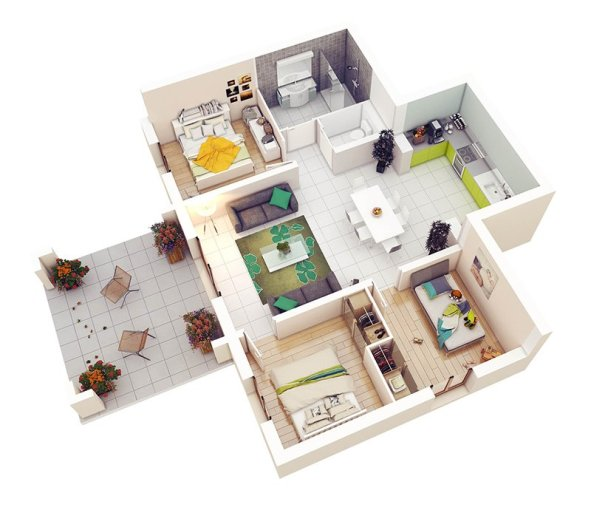20 Designs Ideas for 3D Apartment or One Storey Three Bedroom Floor     3 Bedroom Plan
