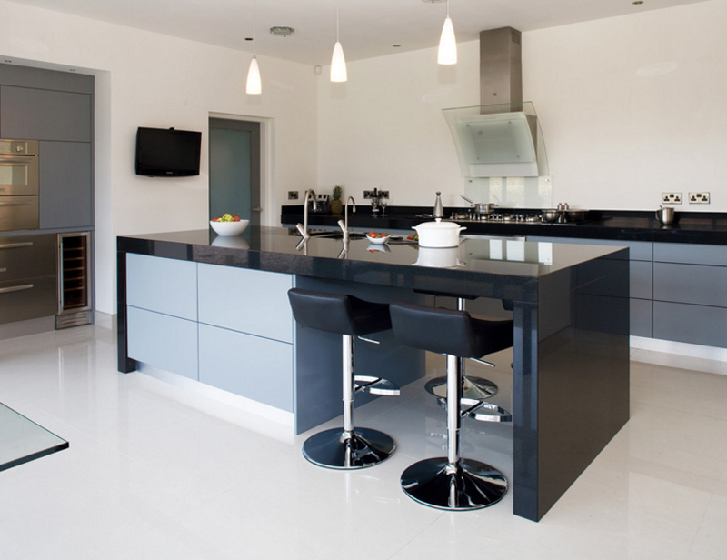 20 Contemporary Black Countertops in the Kitchen   Home ... on Modern Kitchen Counter  id=93694