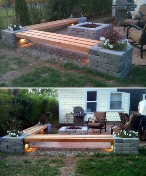 Patio bench and fire pit