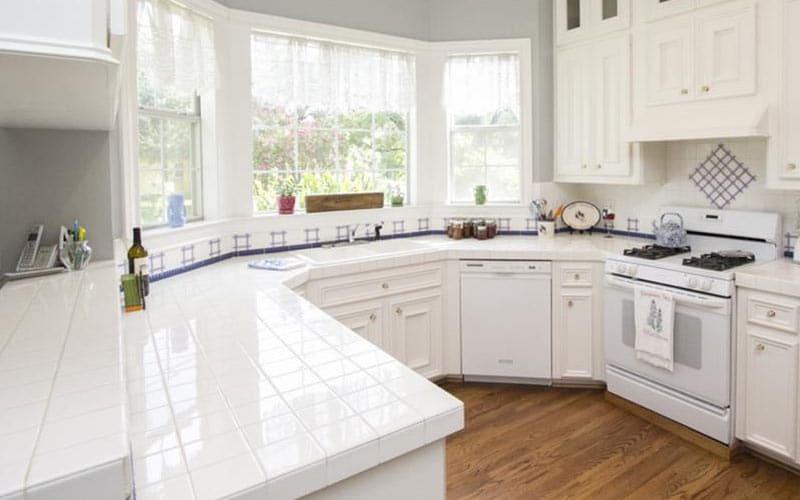 White Ceramic Tile Kitchen Countertops Novocom Top