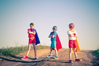 kids acting like a superhero retro vintage instagram filter