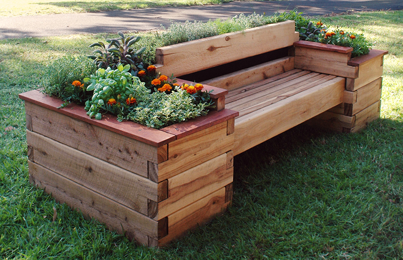 Wooden Bench Raised Bed