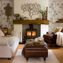 DIY Fall Living Room Decoration With Fireplace Ideas0008