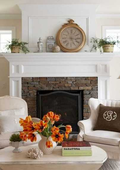 DIY Fall Living Room Decoration With Fireplace Ideas0013