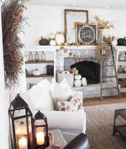 DIY Fall Living Room Decoration With Fireplace Ideas0015