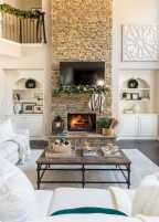 DIY Fall Living Room Decoration With Fireplace Ideas0027