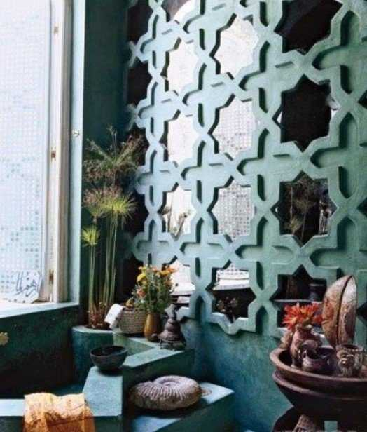 Repeated Wall Mirrors In Eye Catchy Frames To Fit A Moroccan Bathroom