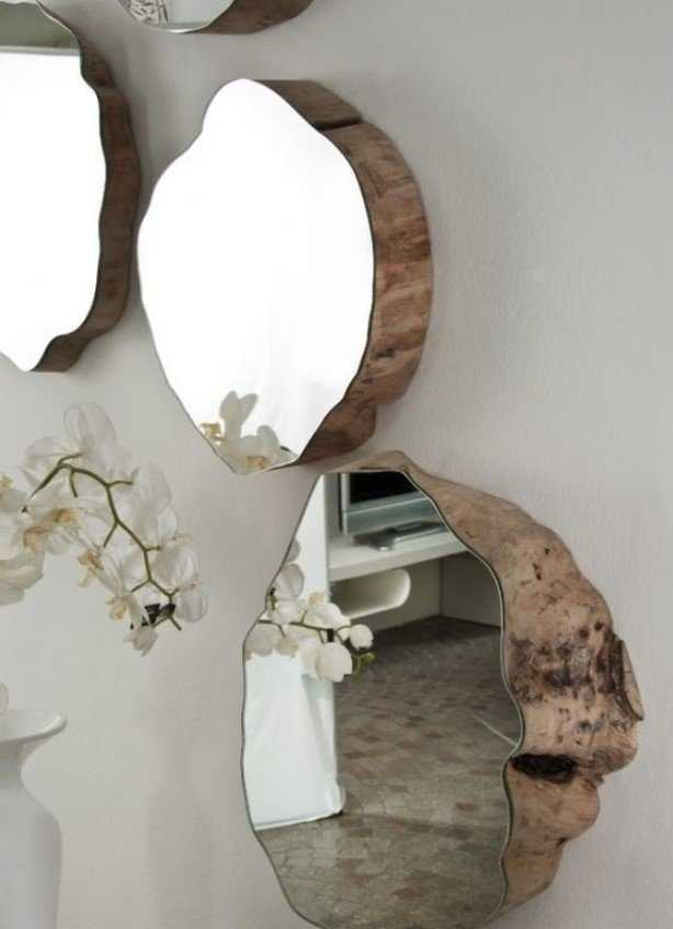 Rough Wood Pieces With Matching Mirrors On Top Look Really Unique,