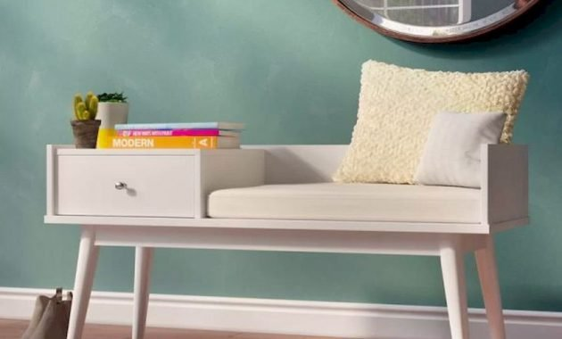 Entryway Bench With Seat And Drawer White With Chrome