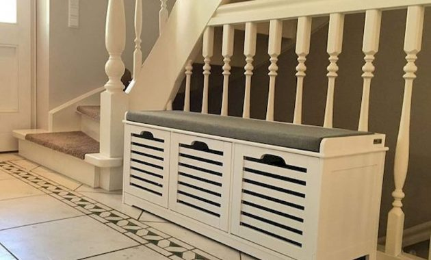 Entryway Bench With Shoe Cabinet And Grey Cushion Slatted Cupboards