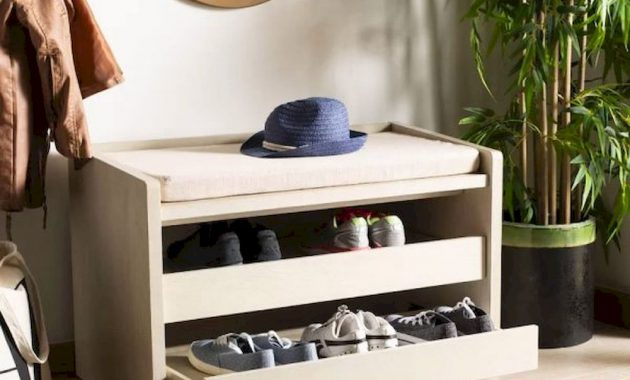 Entryway Bench With Slide Out Shoe Drawers And Beige Removable