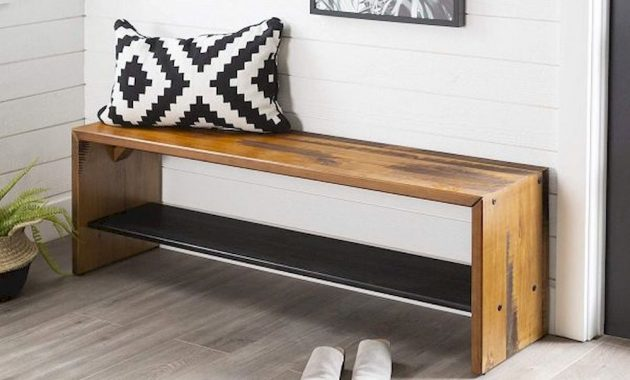 Long Solid Wood Entryway Bench Rustic Distressed Finish With Bottom Shelf
