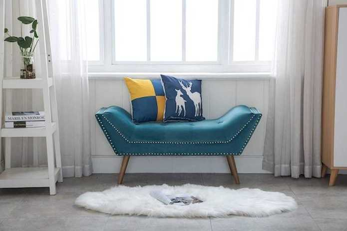 Teal Entryway Bench With Silver Nailhead Trim And Wood Legs
