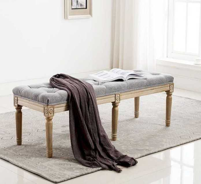 Traditional Tufted Entryway Bench With Wood Carvings And Grey Tufted Seat Rubber Wood