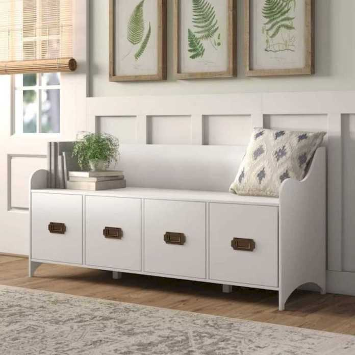 White Entryway Bench With Back And Storage Drawers Brass Pull Handles Curved Design