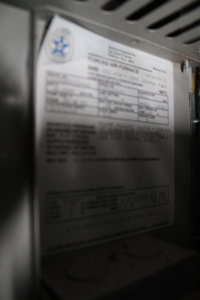 Furnace spec sheet--hope your eyes focus better than my camera...