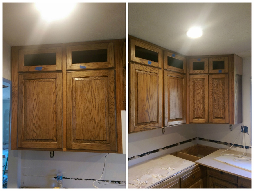 These are the upper, upper cabinets all cutout and ready for their glass inserts.