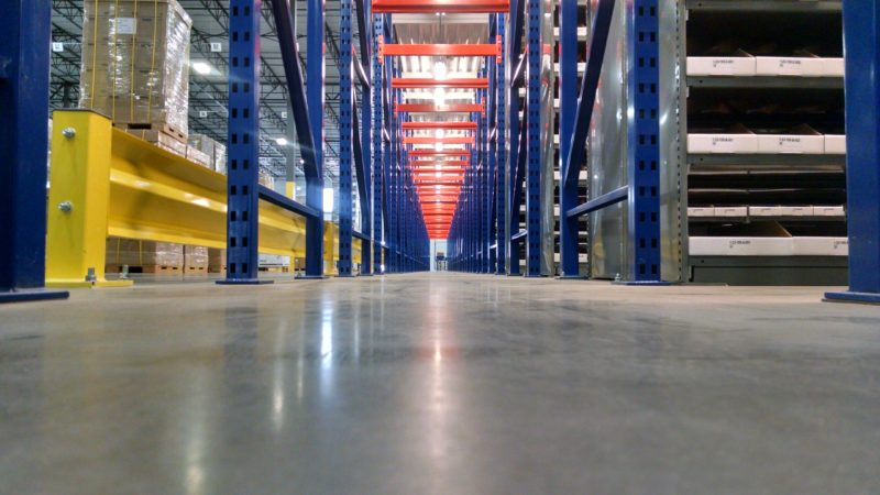 warehouse floor and shelving