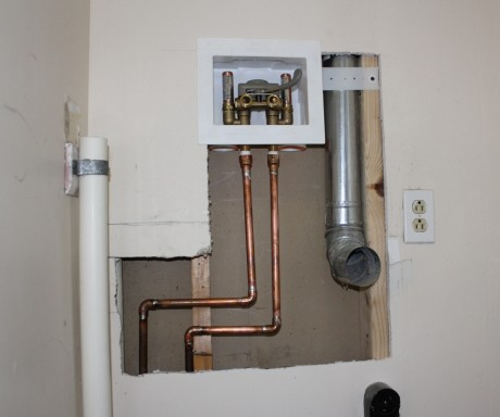 A little drywall, a new vent, and the automatic shut off valve is done