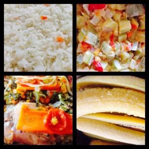 Aqui el combo Ofrecido que incluye Carne, Bastimentso, Arroz, complemento, ensalada, bebidas naturales, Postre por CS100.00