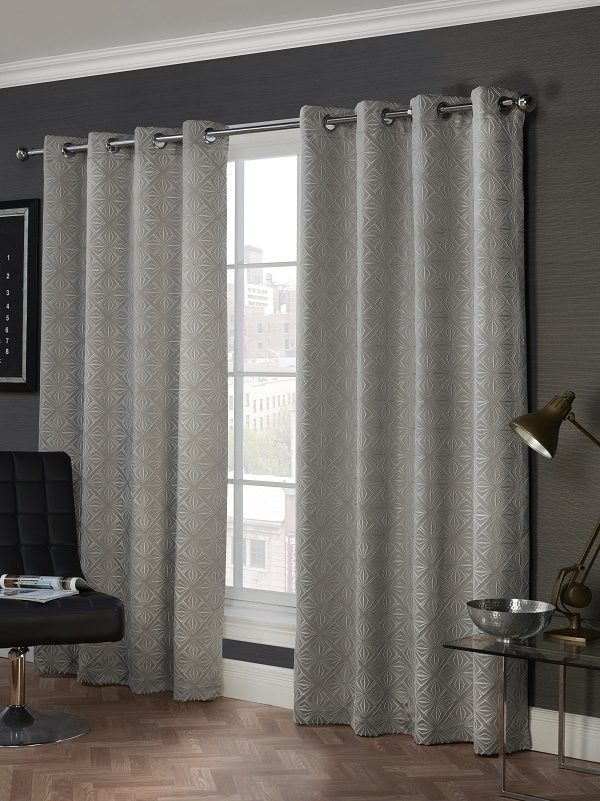 Grey Geometric Pattern Eyelet Curtains Pair Lisbon