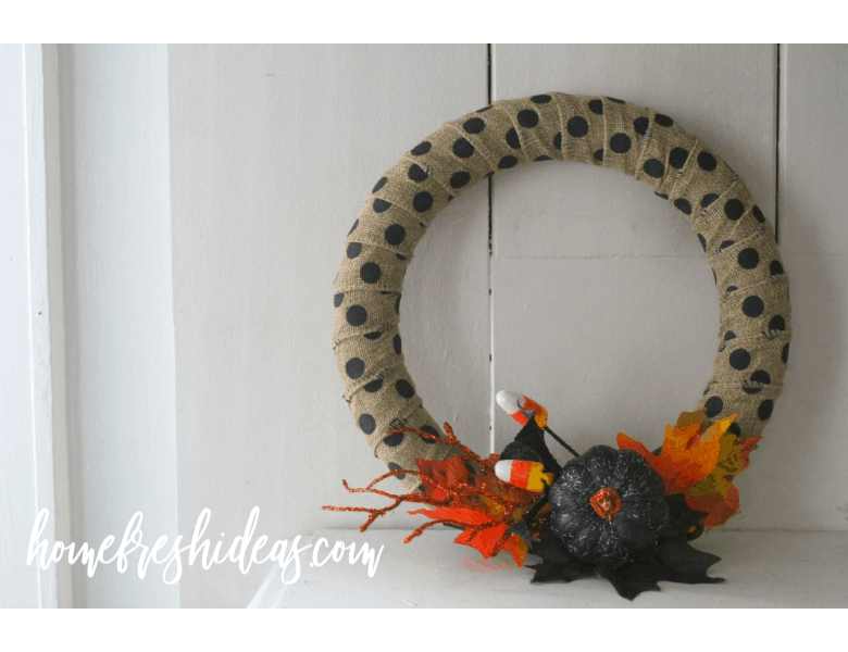 rustic wreath sitting on mantle