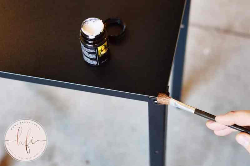 adding adhesvie for copper leaf