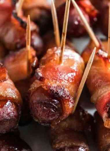 """Learn How To Make Air Fryer Bacon Wrapped Smokies - Air Fryer Bacon Wrapped Smokies are a game-changer! They are much easier than in the oven and will """"WOW"""" your party guests. Try them and see for yourself. #bacon #wrappedsmokies #appetizer #partyfood #easy #homefreshideas"""