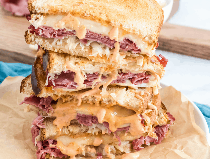 Learn how to make this Air Fryer Reuben Sandwich Recipe in less than 20 minutes! It's delicious, easy, and great for all occasions. #reuben #sandwich #recipe #lunch #dinner #airfryer #homefreshideas