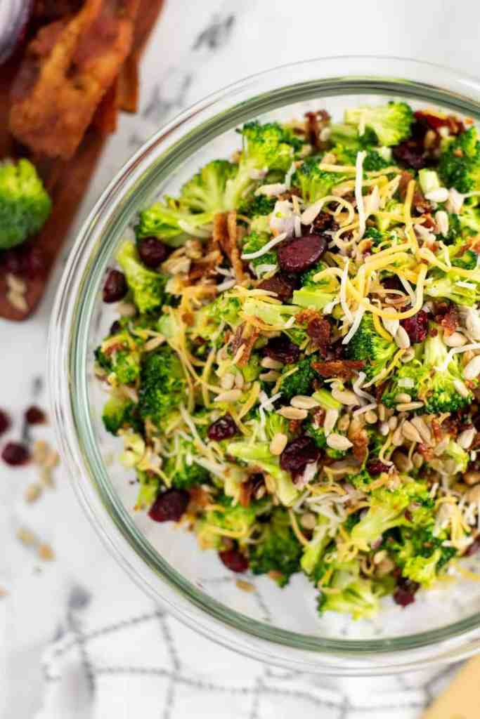 overhead shot of broccoli salad in a bowl on counter