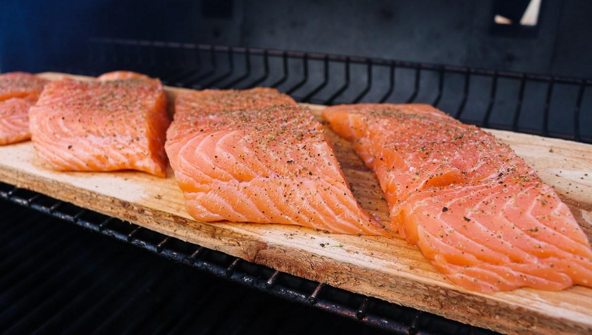 Cedar-Plank Salmon and Grilled Veggies