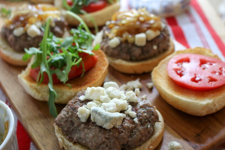 Lamb Burgers with Blue Cheese + Caramelized Onions