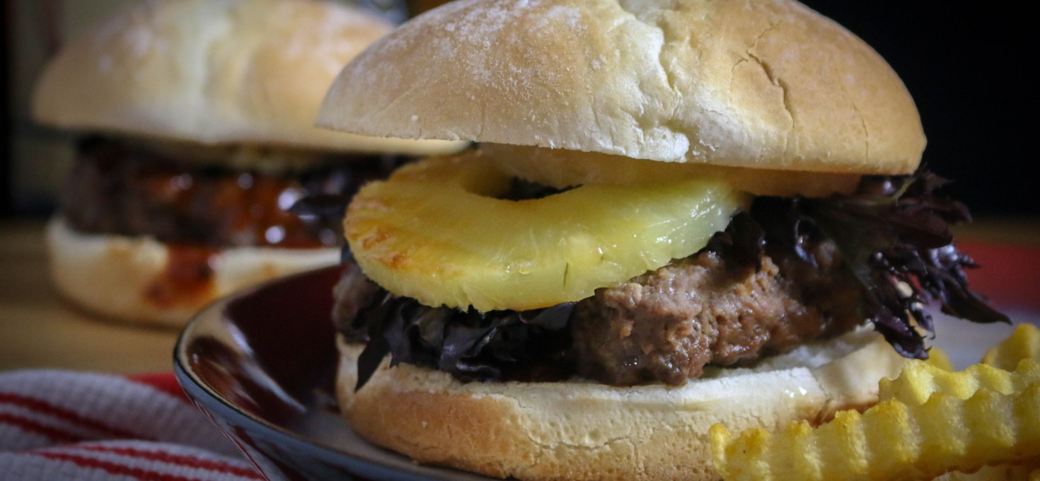 Teriyaki Burgers with Grilled Pineapple Rings