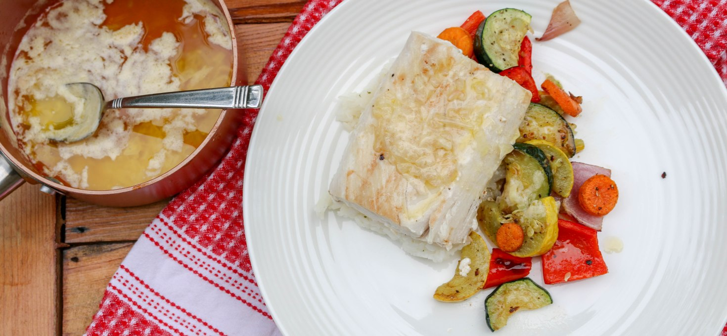 Grilled Lemon Butter Mahi Mahi with Seasonal Veggies