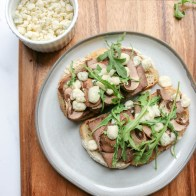 steak gorgonzola open faced sandwich