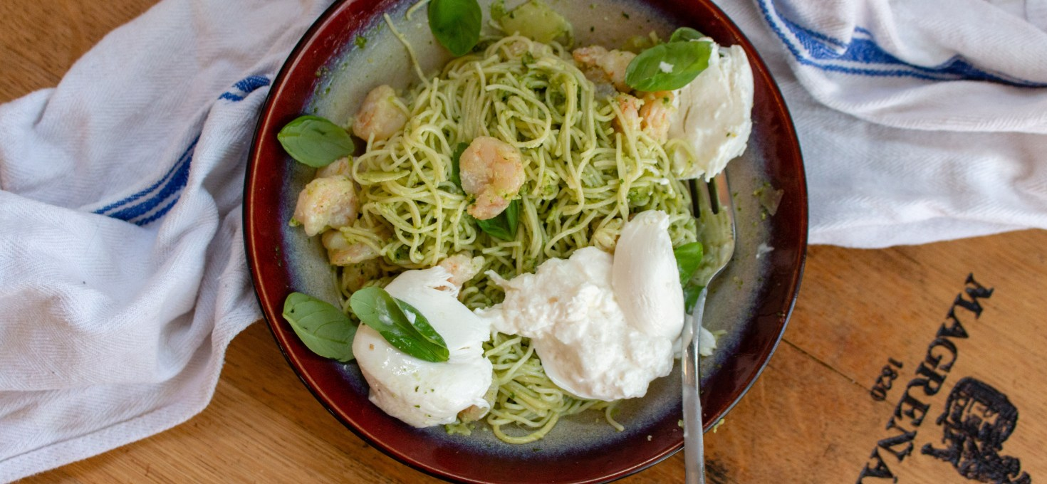 Pesto Shrimp Pasta with Burrata