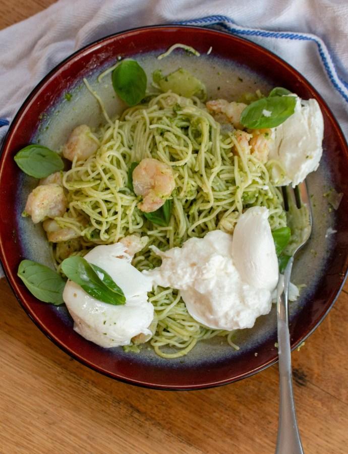 Pesto Shrimp Pasta with Burrata