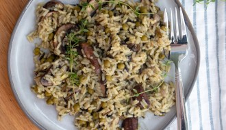 wild rice pilaf with mushrooms