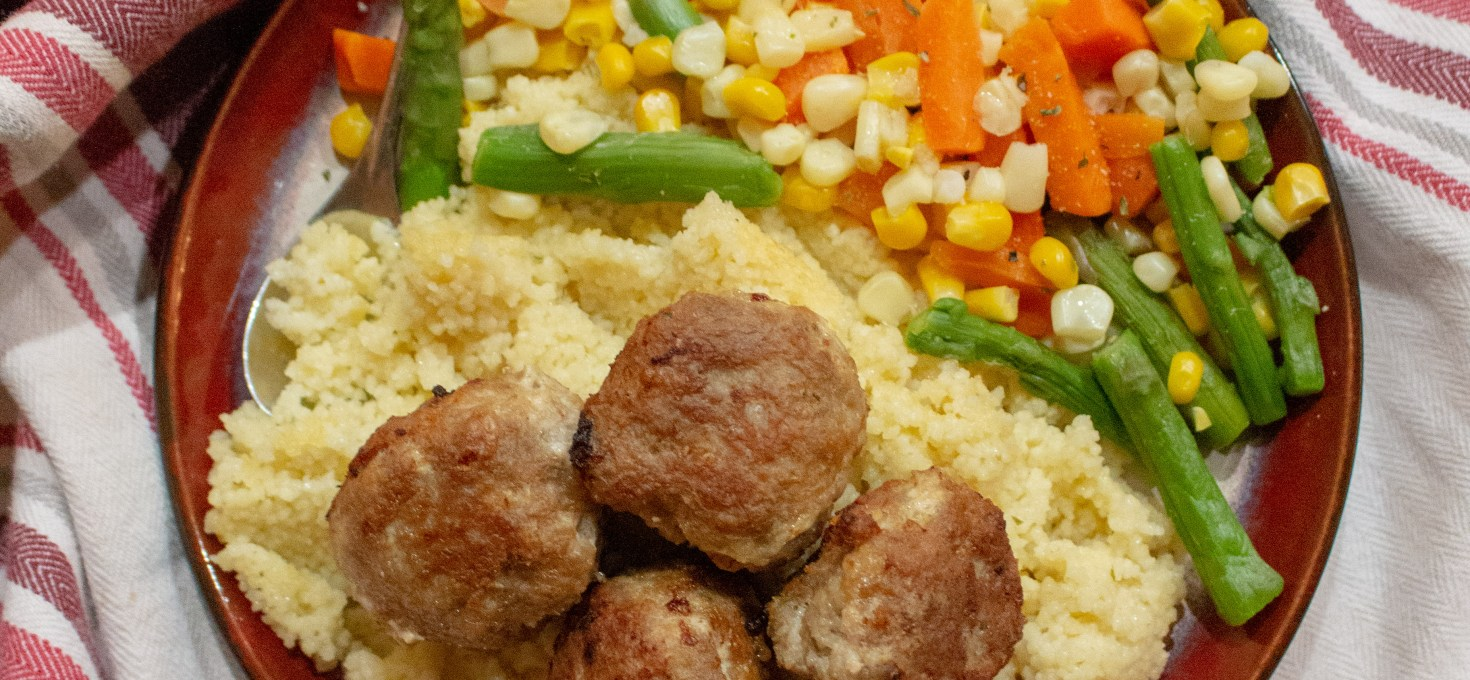 Turkey Meatballs with Couscous + Steamed Vegetables