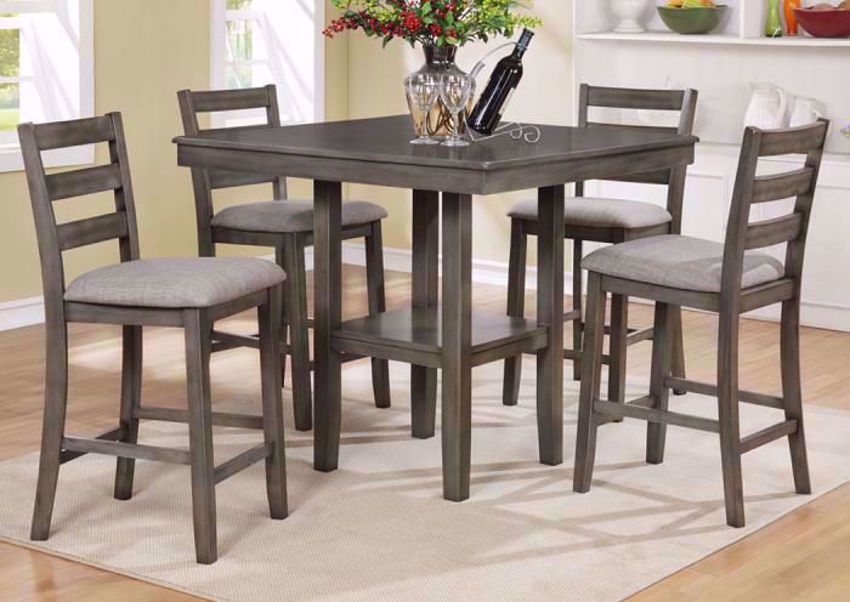 Tahoe 5 Piece Counter Height Dining Table Set Gray Home Furniture Plus Bedding