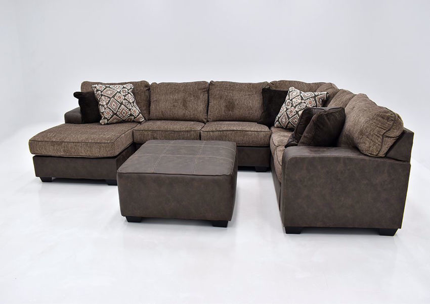 abalone sectional sofa left brown