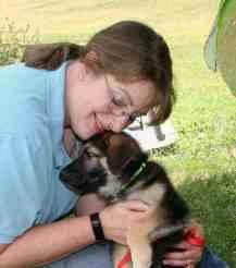 writer Jeanne Grunert and her dog