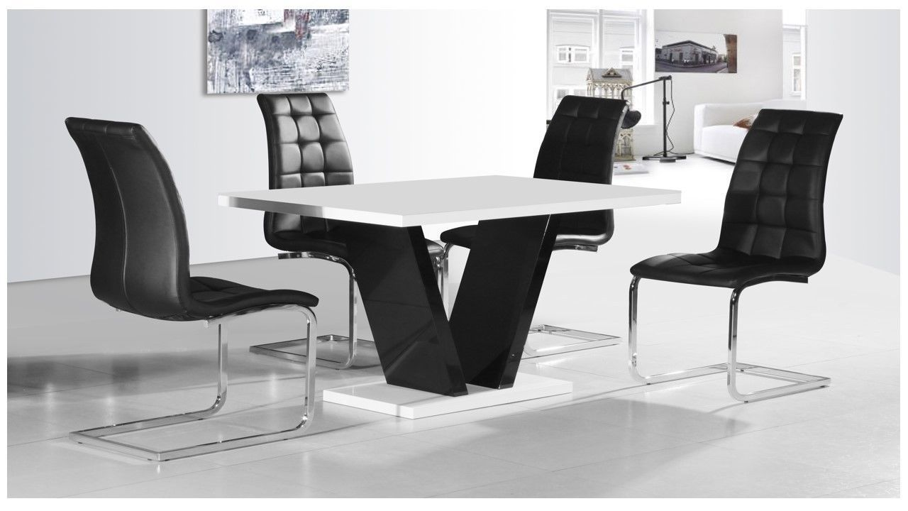 White & Black High Gloss Dining Table & 4 Chairs Set