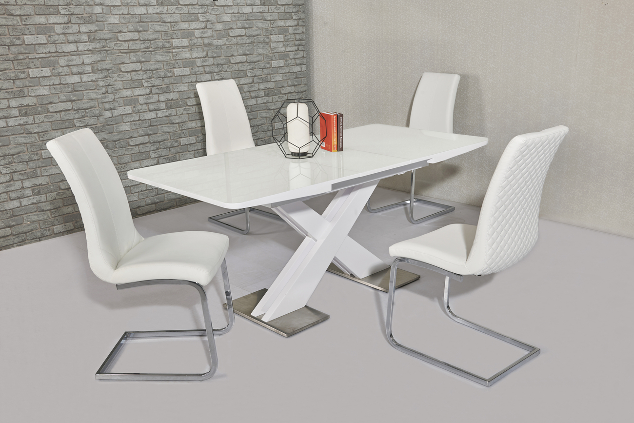 120cm White High Gloss Dining Table & 4 Faux Chairs