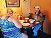 """Pete and Kathleen enjoying breakfast at Jeannie's for the first time. The two have been trying different places around the area, in the hope of finding a """"regular spot."""" Upon finishing their breakfast, they both agreed that they may have found that place."""