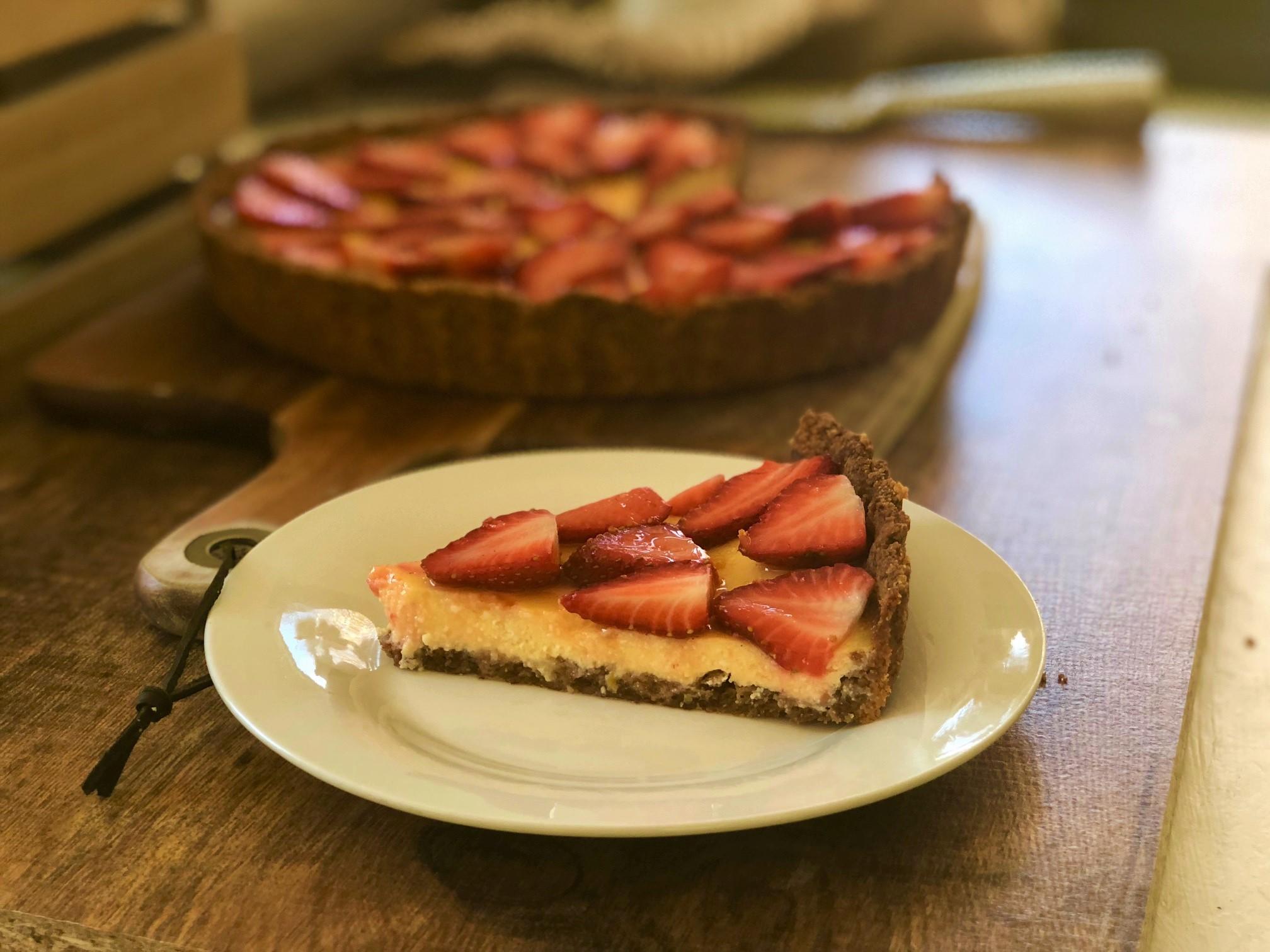 Lemon And Ricotta Tart With Glazed Strawberries