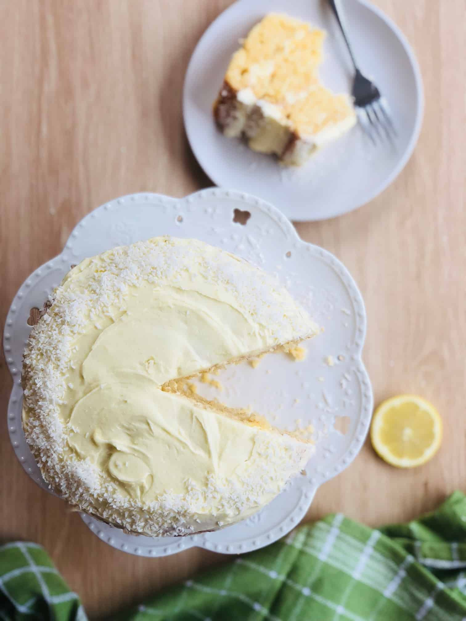 Lemon and coconut layer cake