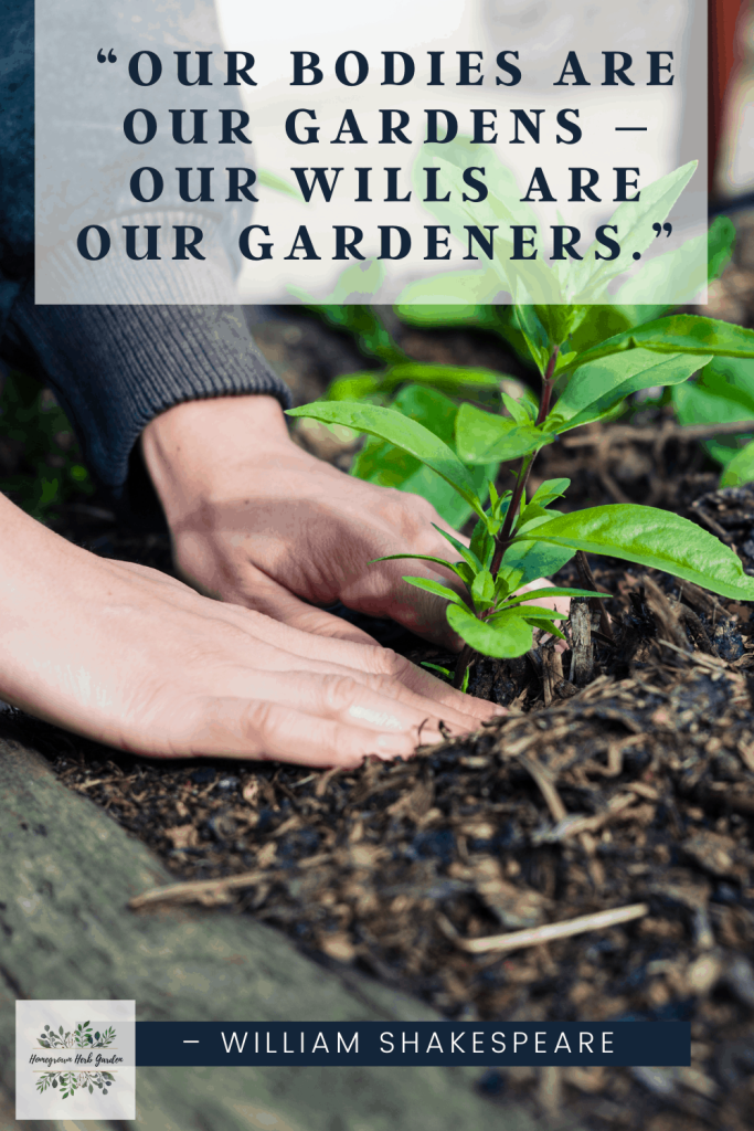 """""""Our bodies are our gardens – our wills are our gardeners."""" – William Shakespeare"""