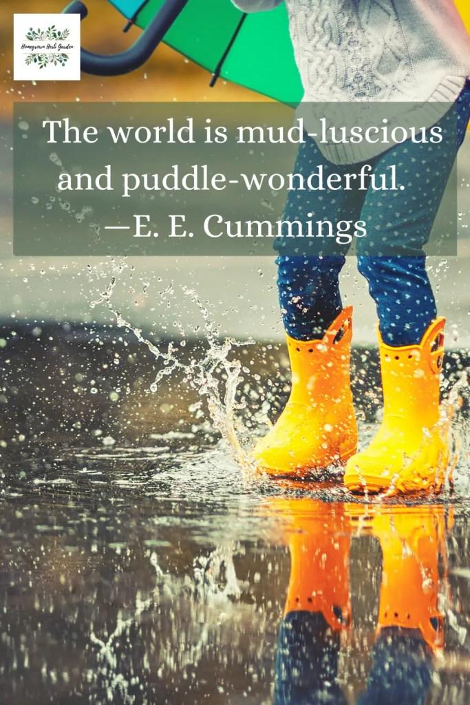 The world is mud-luscious and puddle-wonderful. —E. E. Cummings